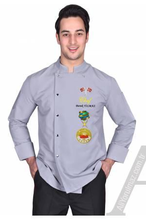 -BIG CHEF  AŞÇI CEKETLERİ GRİ İsminizin ceketinize yazılması ÜCRETSİZ