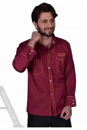 1354- SPOR TARZ BORDO AŞÇI CEKETLERİ (İsim hediyeli aşçı ceketi modelleri)
