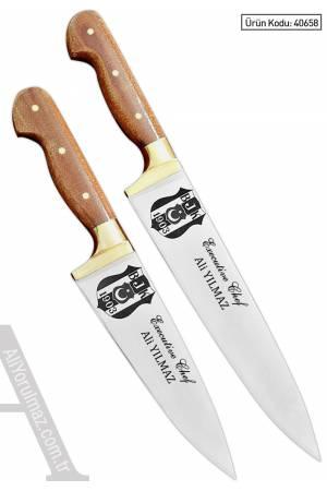 40658- PROFESYONEL EL YAPIMI 2 Lİ ŞEF BIÇAKLARI SETİ (Logolu) İsminizin bıçakların üzerine yazılması HEDİYE