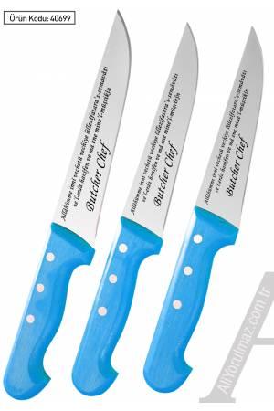 KURBAN DUASI YAZILAN KASAP BIÇAKLARI SETİ 3 LÜ MODEL Bıçakların üstüne isminizin yazılması HEDİYE