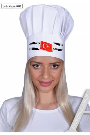MANTAR TİPİ KEP BEYAZAŞÇI KEPİ Türk bayrağı ve bıçak nakış desenli