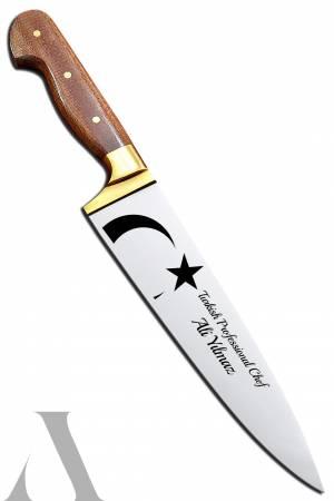 40736 AY YILDIZLI EL YAPIMI PROFESYONEL CHEF BIÇAĞI İsminizin bıçak üzerine işlenmesi ÜCRETSİZ