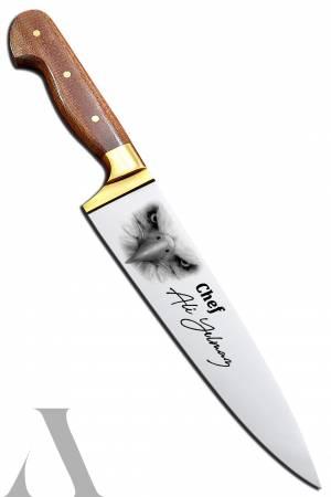 40739 KARTAL FOTOĞRAFLI EL YAPIMI ŞEF BIÇAĞI İsminizin ve ünvanınızın bıçak üzerine işlenmesi ÜCRETSİZ