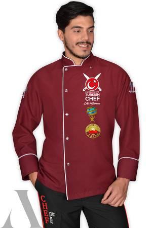 1437-  PRO TURKISH CHEF AŞÇI CEKETİ BORDO İsminizin nakış ile işlenmesi HEDİYE