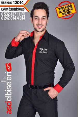 GARSON GÖMLEĞİ SİYAH Gömleğin göğüsüne firma adınızı ÜCRETSİZ yazdırın