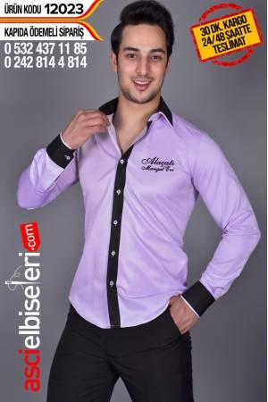 12023- GARSON GÖMLEKLERİ (LİLA RENK) Firma adınızın gömlek üzerine işlenmesi HEDİYE
