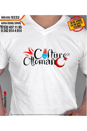 9232 - CULTURE of OTTOMAN BASKILI T-SHIRT BEYAZ