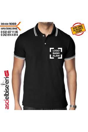 FİRMA LOGO BASKILI TİŞÖRT (Siyah) Şirket logosu baskısı ÜCRETSİZ