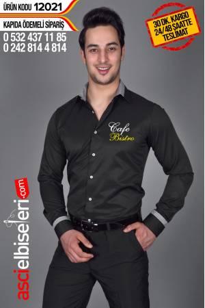 12021- GARSON GOMLEKLERI SIYAH Gömleğin göğüsüne firma adınızı ÜCRETSİZ yazdırın