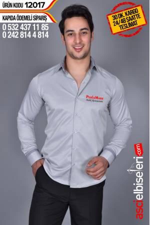 12017- GRİ GARSON GÖMLEK MODELLERİ Gömlek sol göğüsüne firma adınızın nakış işlemesi HEDİYE